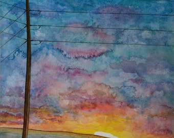 Black Cows Watercolor Print. Sunset Painting. Country Decor. Telephone pole picture. Cow wall art. Farm Animal artwork. Cow picture.