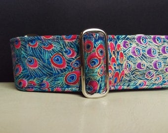 """Martingale Collar - Whippet, and Small to Medium Dog - 1.5"""" width - Blue & Pink Peacock"""