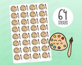 Cute art planner stickers - art stickers, artist stickers, craft stickers, art class stickers, paint stickers, kawaii stickers (D-0051)