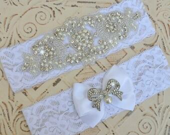 Wedding Garter, Wedding Garter Set, Bridal Garter Set, Pearl Garter,  White Stretch Lace Garter,  Plus Size Lingerie, Pearl Garter Belt