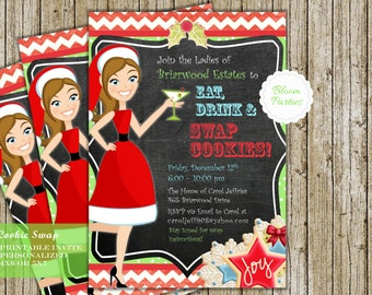 Cookie Swap Invitation Christmas Cookie Exchange Party Eat Drink and Swap Cookies Invite Digital Printable