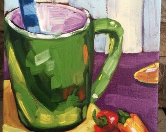 Original Oil Painting- Mug and Peppers