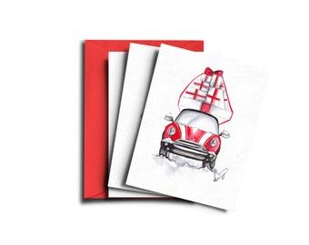 Christmas card set, Holiday card set, Christmas car card, Christmas art, Christmas cards, holiday cards, Cute car xmas cards, Xmas card set