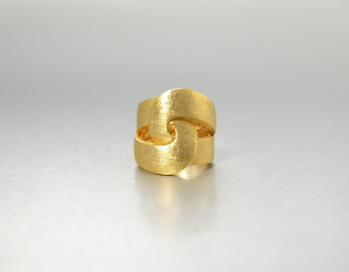 brushed gold wide band ring matte gold ring vintage cigar