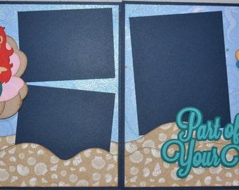 8x8 Cute Disney Ariel Little Mermaid Part of Your World  2-Page 8x8 Scrapbook Page KIT Paper Piece