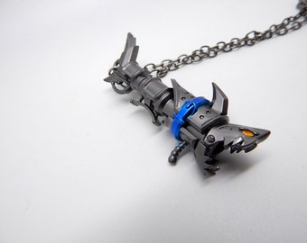 Jinx fishbones necklace - league of legends - lol - the Loose Cannon - Free Shipping - large big gift - rocket launcher gun weapon shark
