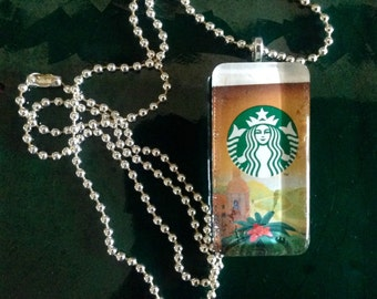 Starbucks Glass Tile Pendant/Coffee Lover Pendant/Upcycled Repurposed Pendant