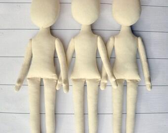 """3 Blank doll bodies -15"""",  Anna Doll ,  blank rag doll, ragdoll body,the body of the doll made of cloth"""