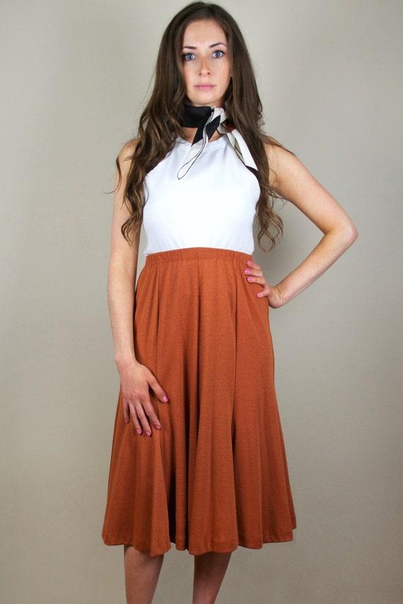 Vintage 80s Tan Flare Full Midi Skirt