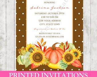 Custom PRINTED Watercolor Fall Bridal Shower Invitation - Printed Fall Bridal Shower Invitation by Dancing Frog Invitations