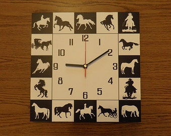 Horse wall clock  white black,  clockwork, black clock hand  kids room  hand made  black & white modern wall clock