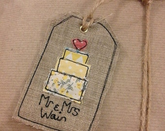 Personalised Wedding Mr&Mrs Free motion Embroidery Label Gift Tag
