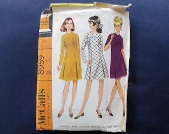 1967 Dress with Front Yoke & Pleats Vintage Pattern, McCalls 8959, Size 16, Bust 36