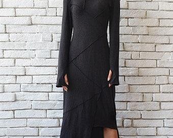 Dark Grey Asymmetric Dress/Thumb Hole Sleeve Tunic/Turtle Neck Dress/Long Polo Dress/Oversize Grey Tunic/Long Sleeve Casual Dress/Grey Gown