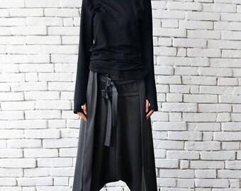 Loose Casual Drop Crotch Harem Pants / Decorative Front Belt Trousers / Grey Oversize Maxi Pants by METAMORPHOZA