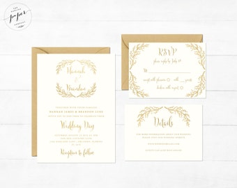 Gold Foil Wedding Invitation Printable Wedding Invitation Suite Rustic Wedding Invite Boho Wedding Invite Gold Foiled Wedding Invite Gold