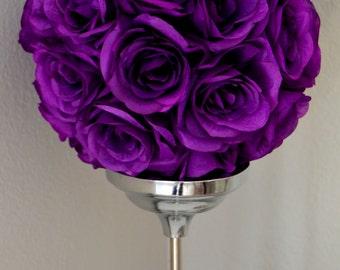 PURPLE Flower Ball.  Kissing Ball. Pomander. Wedding Centerpiece. PREMIUM Soft Silk Roses. Flower Girl. Wedding Decor.