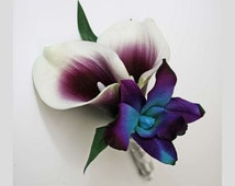 Corsage OR Boutonniere, purple, blue/aqua/teal/turquoise, orchids, Picasso lilies, dendrobium, Real Touch flowers, silk, prom/wedding