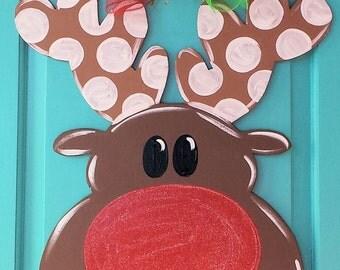 Rudolph Wood Door Hanger by Simply aDOORable. Christmas Door Decor, Wood Door Hanger, Christmas Wreath, Reindeer Door Hanger, Christmas Gift