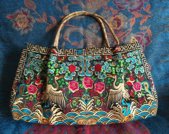Ethnic tote Handbag Vintage Embroidered Cloth Hmong Bag purse, Diaper Bag or Camera Bag,Canvas shoulder bag, messenger bag, laptop bag, hobo