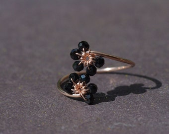 Rose Gold Ring, Black Spinel Ring Gold Adjustable Ring Thin Flower Ring Rose Gold Band Select Ring Size UK Rose Gold