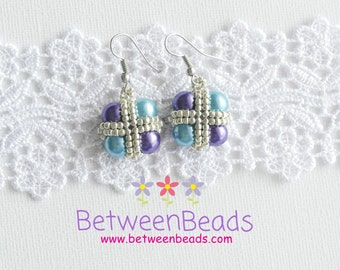 Pearls Earrings, Turquoise Teal Purple Earrings, Colorful Square Earrings, Glass Pearls, Seed Beads, Geometric Square, Gift Women Girl Small