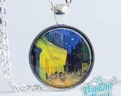 Van Gogh Cafe Terrace at Night Fine Art Jewelry Vincent Vangogh Necklace Pendant gift for art lovers, gift for wife, gift for mothers day