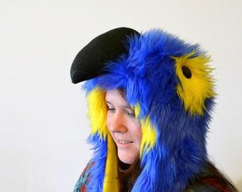 Hyacinth Macaw Scoodie. Spirit Hood. Parrot Hat.
