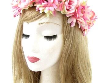 Light Pink Gerbera Daisy Rose Flower Headband Hair Crown Wreath Garland Boho 727