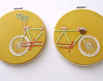 "Tandem Bicycle Embroidery Hoop Art in Mustard>Set of 2-7"" Hand Embroidered Bicycle>Embroidery Designs>Bike Basket>Gift Idea For Her>Bike Art"