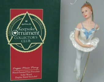 1990 Hallmark Sugar Plum Fairy Keepsake Ornament Club Ballerina Porcelain KOC Limited Edition Wooden Base The Nutcracker Ballet