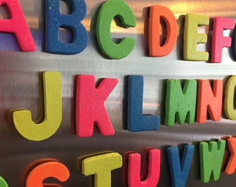 ABC letter magnets; Hand painted wood magnets; Fridge magnets; ABC Learning magnets; kids wooden letter magnets; Neon colors with glitter