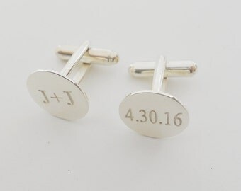 Personalized Wedding Cuff links,Wedding Date Cufflinks,Silver Initials and Date Cufflinks,Engraved Cuff links for Groom,Cuff links for Men
