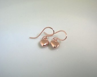 Tiny heart earrings rose gold filled; small rose gold earrings; drop earrings; tiny heart earrings