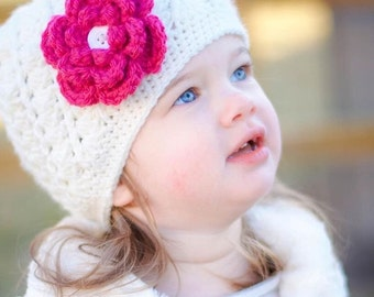 Toddler Crochet Hat, Kids Crochet Hat With Flower, Girl Beanie