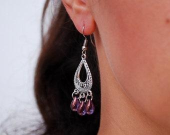 FREE SHIPPING! Purple earrings, teardrop earrings, Gypsy Boho Chandelier Earrings, Chic Bohemian Wedding, christmas gift