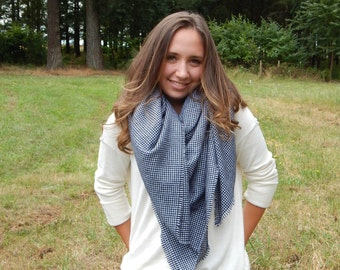 Wool Plaid Scarf, Black and White , Plaid Scarf, ~ The Midnight