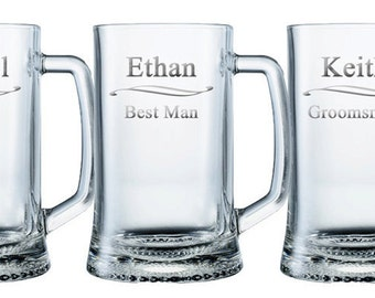 Personalized Beer Mugs - HUGE 25oz. Glass / Groomsmen Gifts / Mugs / Engraved / Custom / 16 DESIGNS / Select ANY Quantity