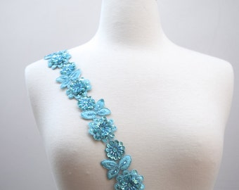 """18"""" Deep Sky Blue Beaded Lace. 1.75"""" in Width. Splendid Coloring Sequins and Multi-color Beading"""