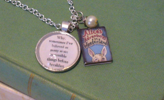 Book Nook Necklace, Alice in Wonderland, Alice Necklace, Book Necklace, Quote Necklace, Silver Chain, Pearl Necklace, Pendant, MarjorieMae