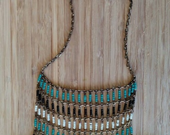 Vintage, Beaded and Feather,  Tribal Necklace