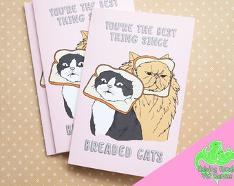Breaded cat card, cat breading, cat love card, cute cat card, internet cat, cat meme, funny cat card, cat greeting card, animal rescue