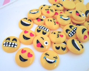 Assorted Emoji Cabochons, Smiley Face Cabs, #892