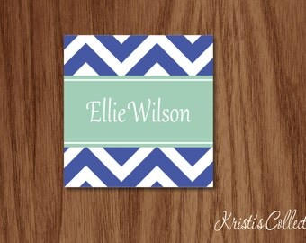 Chevron Personalized Calling Cards Gift Tags Stickers, Personal Business Mommy Cards, Gift Inserts Enclosure Cards, Birthday Gift Tags