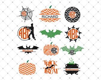 Halloween SVG cut files, Halloween Monogram svg, Bat svg, Pumpkin svg cut files for Cricut, Cut files for Silhouette, svg files