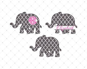 Quatrefoil Elephant SVG Cut Files, Elephant SVG, cut files for Silhouette, cut files for Cricut, svg files, Monogram frames svg, svg files