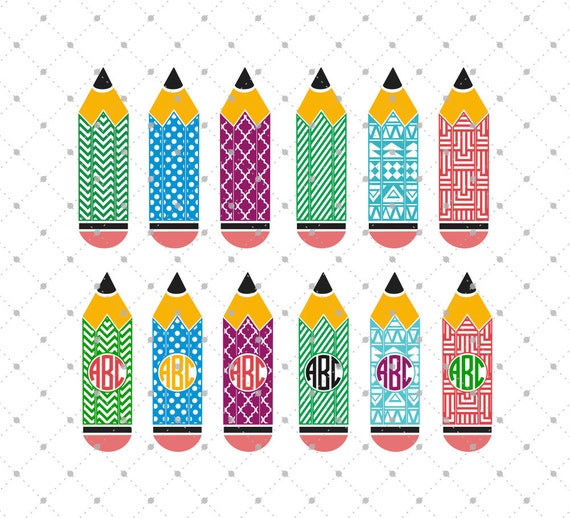 pencil svg cut files school svg cut files pencil monogram