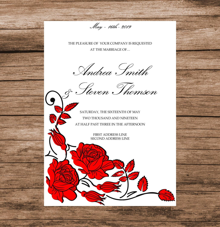 DIY Wedding Invitation Template, Red Roses Invitation Card ...