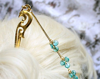 hair pick gold blue hair jewelry gift daughter birthday water jewelry/for/hair gift women swan jewelry hair stick anniversary gift idea шв23