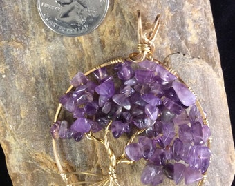 Amethyst Tree of Life Pendant, February Birthstone, Tree of life in Copper, Bronze, Sterling Silver, Gold-filled or Rose Gold-filled Wire
